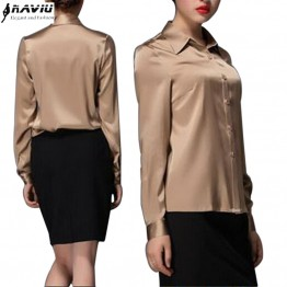 Classic Silk Satin Turn-down Collar Blouse