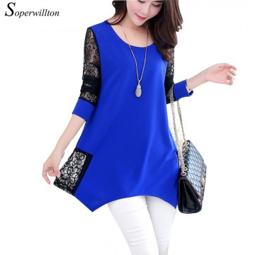 Chic O-neck 3/4 Sleeve Lace Blouse - 32687614385