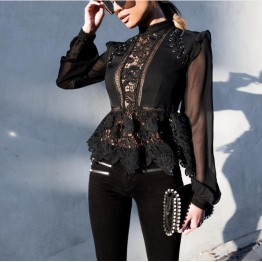Elegant Flower Crochet Lace Blouse