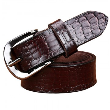 Genuine Leather Crocodile Print Designer Belt - 32471716334