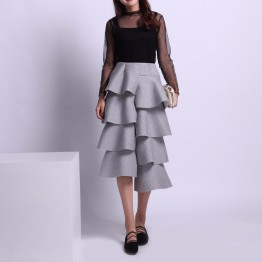 Ruffled Long Cotton Skirt