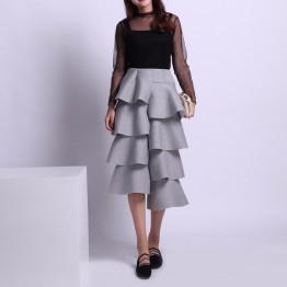 Ruffled Long Cotton Skirt