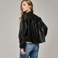 Casual Long Sleeve Button Slim Coat Fashion Faux Leather Bomber Jacket