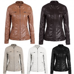 Faux Leather Hooded Jacket Zippered Short Slim Motorcycle Jacket