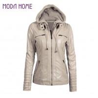 Faux Leather Hooded Jacket Zippered Short Slim Motorcycle Jacket
