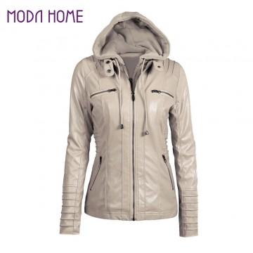 Faux Leather Hooded Jacket Zippered Short Slim Motorcycle Jacket - 32705082158