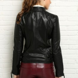 100% Real Leather Cool Motorcycle Red Black Coat