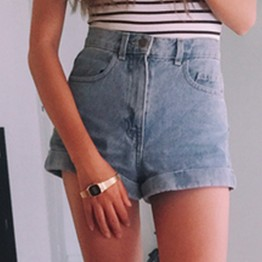 Casual High Waisted Denim Shorts