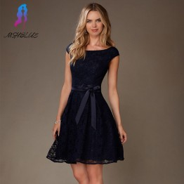 Elegant Navy Blue Lace Short Cocktail Dress