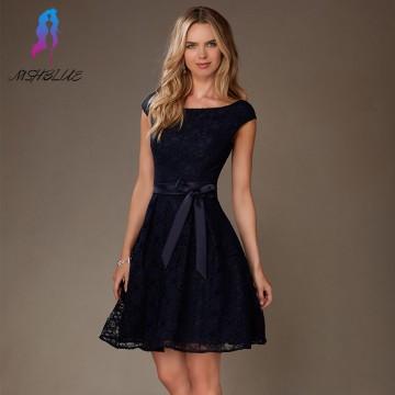 Elegant Navy Blue Lace Short Cocktail Dress