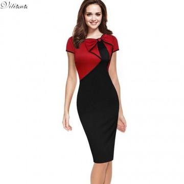 Elegant Vintage Red/Black Patchwork Pencil Dress