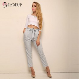 Ciffon High Waist Harem Pants With Bow Tie Drawstring
