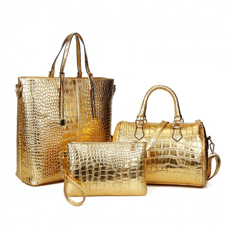 af4a9301abeaa 3Pcs Luxury Alligator Crocodile Women Leather Handbag Set Famous Brand Women  Shoulder Bags Ladies Handbags Purse Clutch Bag Gold - Purses