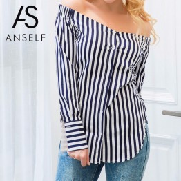 Fashionable Striped Print Off the Shoulder Blouse