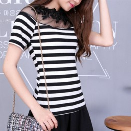 Elegant Black and White Striped Blouse with Lace Embroidery