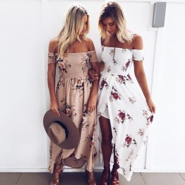 Attractive Bohemian Off The Shoulder Printed Dress