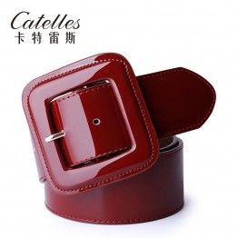 Genuine Leather Belt with Cummerbund Decoration