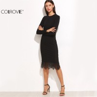 Elegant Casual Black Lace Trimmed Long Sleeve Pencil Dress