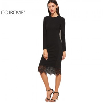 Elegant Casual Black Lace Trimmed Long Sleeve Pencil Dress - 32754349419