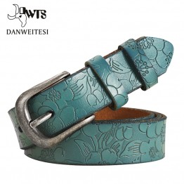 Thin Genuine Leather Floral Carved Belt