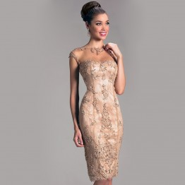 Elegant Sheath Crew Sheer Cap Sleeves Lace Beading Backless Evening Dress