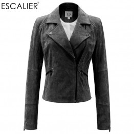 Genuine Leather Jacket Women Real Pigskin Slim Zipper Soft Suede
