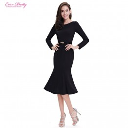 Beautiful Simple Long Sleeve Round Neck Fishtail Cocktail Dress