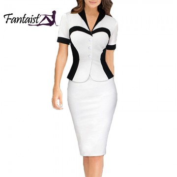 Attractive Two-Piece Pencil Peplum Dress - 32683560001