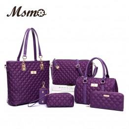Beautiful Diamond Lattice Oxford Shoulder Bags   Tote Bag Handbag+Crossbody Bag+Wallet+Purse 6 sets
