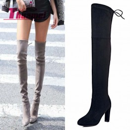Chic Faux Suede Slim Boots