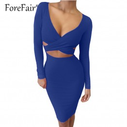 Sexy Criss Cross Long Sleeve Party Dress