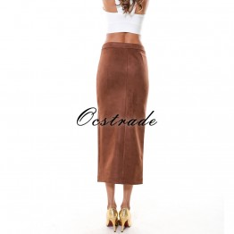 Chic Brown Suede Midi Skirt