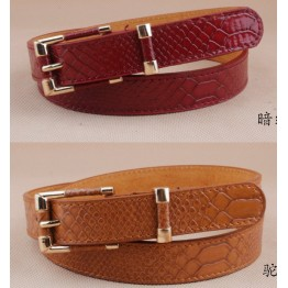 Genuine Leather Crocodile Pattern Thin Waist Belt
