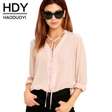 Beautiful Casual V Neck Long Sleeve Blouse - 32768525679