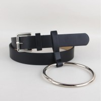 Hot Big Ring Decorated PU Leather Strap Belt