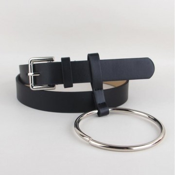 Hot Big Ring Decorated PU Leather Strap Belt - 32758766988