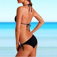 Hot Halter Triangle Black Bikini