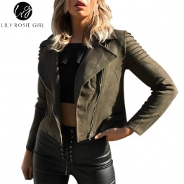 Casual Suede Leather Jacket Ruffle Long Sleeve