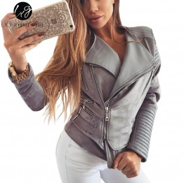 Gray Zipper Suede Faux Leather Jacket