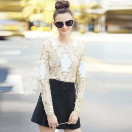 Chic Black/Beige Beading and Sequined Elegant Top
