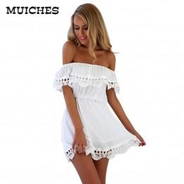 Elegant Vintage Lace White Mini Dress