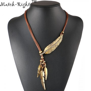Vintage Alloy Feather Necklace Pendant - 32673943711