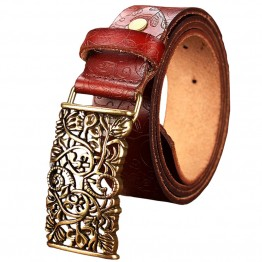 Genuine Leather Vintage Floral Metal Buckle Belt