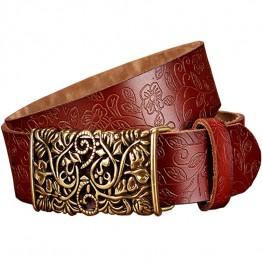 Genuine Leather Vintage Floral Metal Buckle Belt