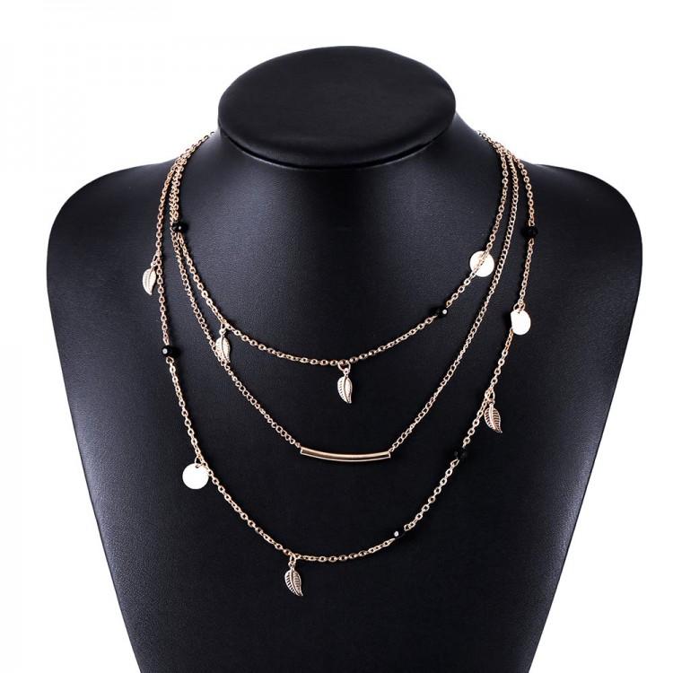 Beautiful multi layer gold silver chain beads leaves pendant beautiful multi layer gold silver chain beads leaves pendant necklace accessories mozeypictures Choice Image