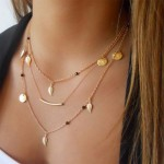 Beautiful Multi Layer Gold Silver Chain Beads Leaves Pendant Necklace