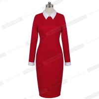 Attractive Turn-down Collar Fit Business Dress