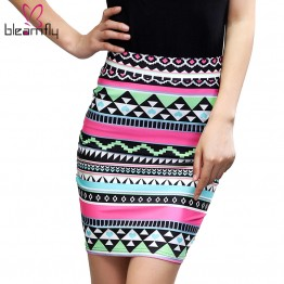 Beautiful Striped Floral High Waist Skirt
