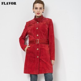 Women's Genuine Leather jacket Red Trench Coat