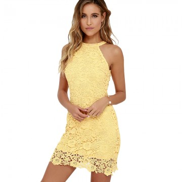 Short Yellow Lace Dress - 32731457318